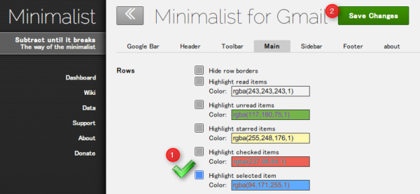Minimalist for Gmail Highlight selected item.png